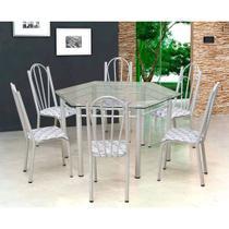 Conjunto de Mesa com 6 Cadeiras Lorena Branco e Estampa Capitonê - Artefamol