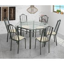 Conjunto de Mesa com 6 Cadeiras Lorena Craqueado Preto e Estampa Rattan - Artefamol