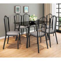 Conjunto de Mesa com 6 Cadeiras Lotus I Preto Fosco com Platina - Artefamol
