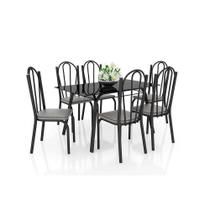 Conjunto de Mesa com 6 Cadeiras Lotus Preto com Platina Artefamol -