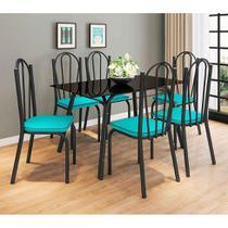 Conjunto de Mesa com 6 Cadeiras Lotus Preto Fosco com Azul - Artefamol