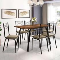 Conjunto de Mesa com 6 Cadeiras Lotus Preto Fosco com Rattan - Artefamol
