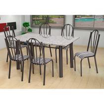 Conjunto de Mesa com 6 Cadeiras Luana Craqueado Preto e Listrado Bco e Pto - Artefamol