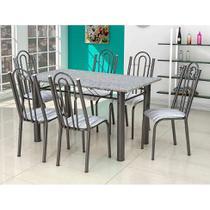 Conjunto de Mesa com 6 Cadeiras Luiza Preto e Listrado - Artefamol