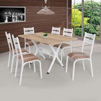 Conjunto de Mesa com 6 Cadeiras Luna Clássica Ciplafe Branco/Capuccino -