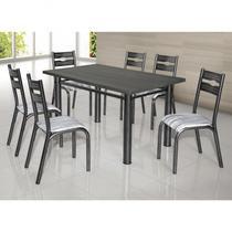 Conjunto de Mesa com 6 Cadeiras Luna Clássica Ciplafe Craqueado Preto/Riscado Branco -
