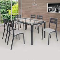 Conjunto de Mesa com 6 Cadeiras Luna Clássica Ciplafe Preto/Junco Manteiga -