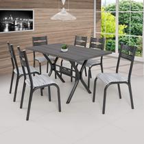 Conjunto de Mesa com 6 Cadeiras Luna Clássica Ciplafe Preto/Riscado Branco -