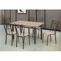 Conjunto de Mesa com 6 Cadeiras Marta Preto - Artefamol