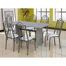 Conjunto de Mesa com 6 Cadeiras Pietra Craqueado Preto e Linho - Artefamol