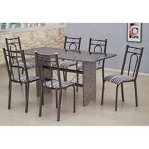 Conjunto de Mesa com 6 Cadeiras Pietra Craqueado Preto e Listrado Branco e Preto - Artefamol