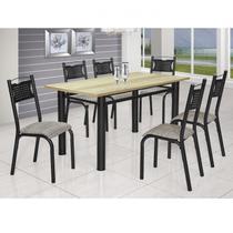Conjunto de Mesa com 6 Cadeiras Poeme Clássica Ciplafe Craqueado Preto/Junco Manteiga -