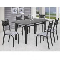 Conjunto de Mesa com 6 Cadeiras Poeme Clássica Ciplafe Craqueado Preto/Riscado Branco -