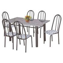 Conjunto de Mesa com 6 Cadeiras Primavera Preto e Capitonê - Artefamol