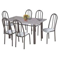 Conjunto de Mesa com 6 Cadeiras Primavera Preto e Listrado - Artefamol