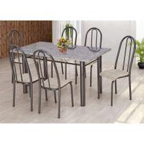Conjunto de Mesa com 6 Cadeiras Primavera Preto e Rattan - Artefamol