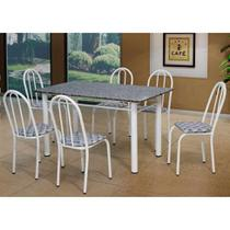 Conjunto de Mesa com 6 Cadeiras Sara Branco - Artefamol