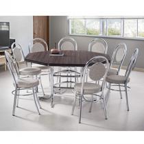 Conjunto de Mesa com 8 Cadeiras Estofadas Mirela Móveis Brastubo Ameixa Negra/Marrom -