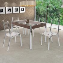 Conjunto de Mesa com Tampo de Vidro 4 Cadeiras Camila Premium Ciplafe Cromado/Bege Geométrico -