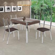 Conjunto de Mesa com Tampo de Vidro 4 Cadeiras Camila Premium Ciplafe Cromado/Linho Marrom -