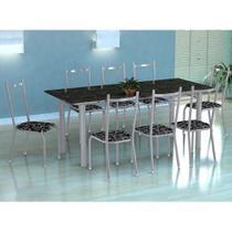 Conjunto de Mesa Cordoba com 8 Cadeiras Lisboa Branco Prata e Preto Floral - Fabone