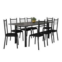 Conjunto de Mesa Cordoba com 8 Cadeiras Lisboa Preto Liso - Fabone