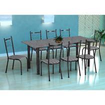 Conjunto de Mesa Cordoba Com 8 Cadeiras Lisboa Preto Prata E Listrado - Fabone