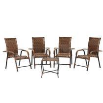 Conjunto de Mesa de centro para Área Externa de Fibra - com 4 Cadeiras napoly Móveis - Vl Decor