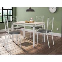 Conjunto de Mesa de Cozinha com 4 Lugares Malva I Courvin Cinza - Artefamol