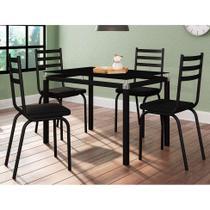 Conjunto de Mesa de Cozinha com 4 Lugares Malva I Courvin Preto - Artefamol