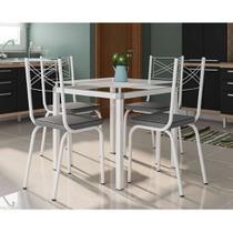 Conjunto de Mesa de Cozinha com 4 Lugares Malva II Courvin Cinza - Artefamol