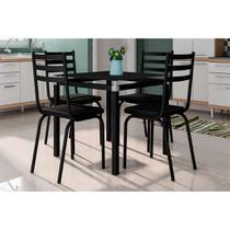 Conjunto de Mesa de Cozinha com 4 Lugares Malva II Courvin Preto - Artefamol