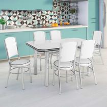 Conjunto de Mesa de Cozinha com 6 Lugares Málaga Corino Branco - Unimóvel