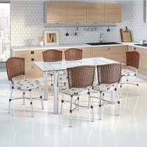 Conjunto de Mesa de Cozinha com Tampo de Vidro e 6 Lugares Elvas Corino Incolor e Marrom - Unimóvel