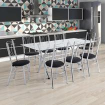 Conjunto de Mesa de Cozinha com Tampo de Vidro e 8 Lugares Amarante Corino Incolor e Preto - Unimóvel