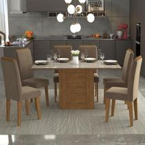 Conjunto de Mesa de Jantar 6 Cadeira Com Tampo Vidro Cimol -