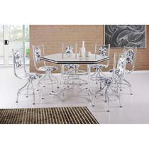 Conjunto de Mesa de Jantar 6 Cadeiras Zeus Damasco Branco - Brastubo