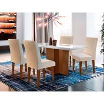 Conjunto de Mesa de Jantar Berlim com Vidro 4 Cadeiras Grécia Veludo Creme e Off White - Rufato
