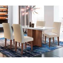 Conjunto de Mesa de Jantar Berlim com Vidro e 4 Cadeiras Grécia Veludo Café e Off White - Rufato