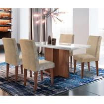 Conjunto de Mesa de Jantar Berlim II com Vidro 4 Cadeiras Grécia Suede Amassado Chocolate e Off White - Rufato