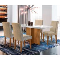 Conjunto de Mesa de Jantar Berlim III com Vidro 4 Cadeiras Grécia Suede Chocolate e Off White - Rufato