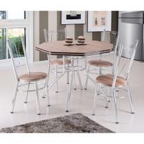 Conjunto de Mesa de Jantar com 4 Cadeiras Golf Carvalho e Marrom - Brastubo
