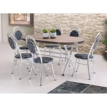 Conjunto de Mesa de Jantar com 6 Cadeiras Escocia Damasco Preto - Brastubo