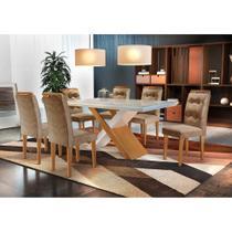 Conjunto de Mesa de Jantar com 6 Cadeiras Imperatriz Suede Off White e Chocolate - Rufato