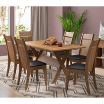 Conjunto de Mesa de Jantar com 6 Lugares Campestre Courino Preto e Rustic - Madesa