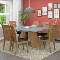 Conjunto de Mesa de Jantar com 6 Lugares Vita Courino Preto Rustic e Bronze - Madesa