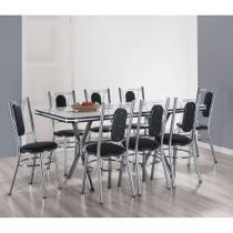 Conjunto de Mesa de Jantar com 8 Cadeiras Milano Branco e Preto - Brastubo