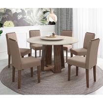 Conjunto de Mesa de Jantar com Tampo Giratório Isabela com 6 Cadeiras Estofada Amanda Veludo Branco e Marrom Claro - New Ceval