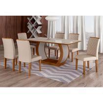 Conjunto de Mesa de Jantar com Vidro e 6 Cadeiras Maia I Veludo Imbuia e Creme - Rufato