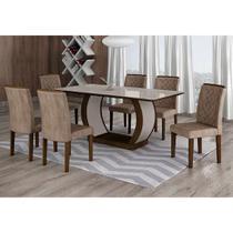 Conjunto de Mesa de Jantar com Vidro e 6 Cadeiras Maia III Suede Animalle Castor e Chocolate - Rufato